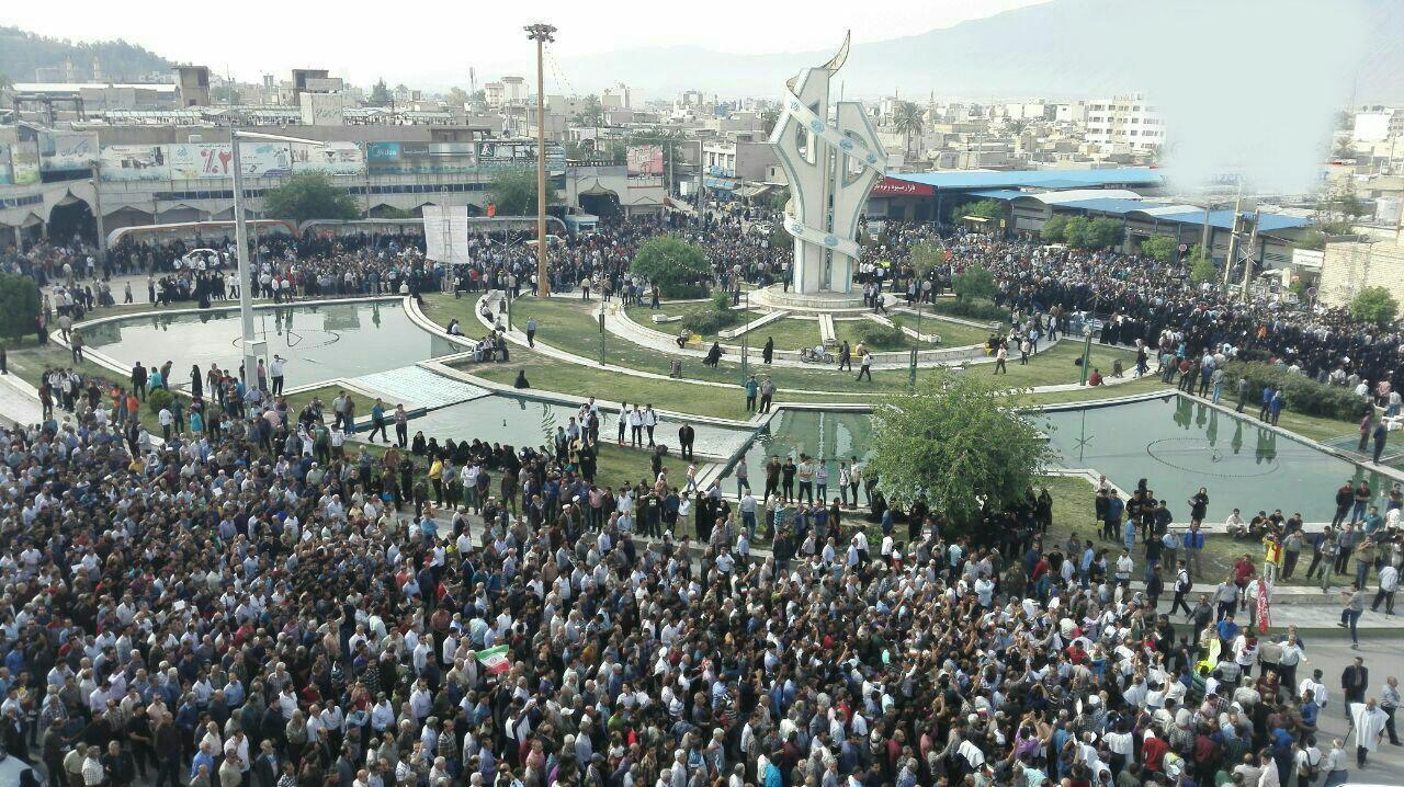 کازرون.تجمع اعتراضی نسبت به جدایی بخش هایی از کازرون.970127 3